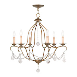 Livex Lighting Six Light Antique Gold Leaf Up Chandelier