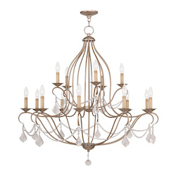 Livex Lighting Fifteen Light Antique Silver Leaf Up Chandelier