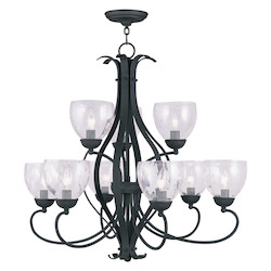 Livex Lighting Black Brookside Clear Water Glass Up Lighting 2 Tier Chandelier With 9 Lights