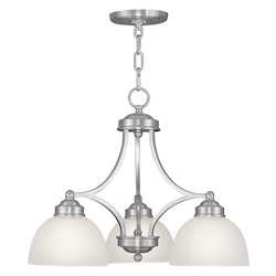 Livex Lighting Brushed Nickel 3 Light 300 Watt Down Lighting Chandelier With Satin Glass