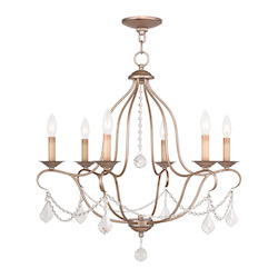 Livex Lighting Six Light Antique Silver Leaf Up Chandelier