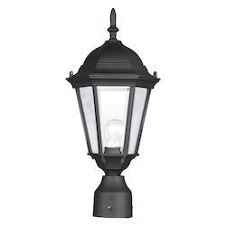 Livex Lighting Black 1 Light 100W Post Light With Medium Bulb Base And Clear Beveled Glass