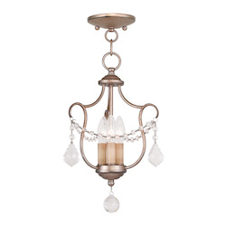 Livex Lighting Three Light Antique Silver Leaf Up Chandelier