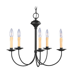 Livex Lighting Black 5 Light 300W Chandelier With Candelabra Bulb Base From Heritage Series