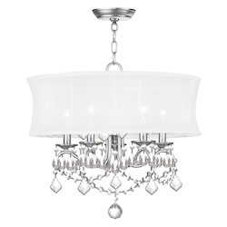 Livex Lighting Brushed Nickel 5 Light 300 Watt Chandelier With Off White Silk Shimmer Shade