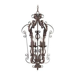Livex Lighting Imperial Bronze 6 Light 360W Foyer Pendant With Candelabra Bulb Base
