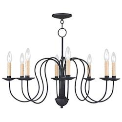Livex Lighting Black Heritage 8 Light 1 Tier Chandelier
