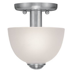 Livex Lighting Brushed Nickel 1 Light 100 Watt Ceiling Mount Pendant With Satin Glass