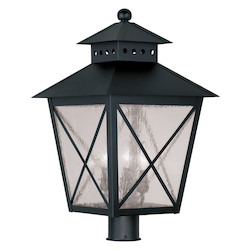 Livex Lighting Black Montgomery 22.5 Inch Tall Post Light With 3 Lights