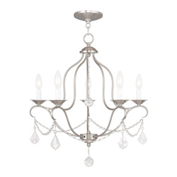 Livex Lighting Five Light Brushed Nickel Up Chandelier