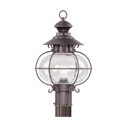 Livex Lighting Bronze 1 Light 100W Post Light With Medium Bulb Base And Hand Blown Clear Glass