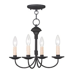Livex Lighting Four Light Black Up Mini Chandelier
