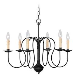 Livex Lighting Black 6 Light 360W Chandelier With Candelabra Bulb Base From Heritage Series