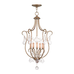 Livex Lighting Five Light Antique Gold Leaf Open Frame Foyer Hall Fixture