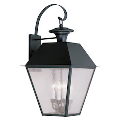 Livex Lighting Black Mansfield Large Outdoor Wall Sconce With 4 Lights