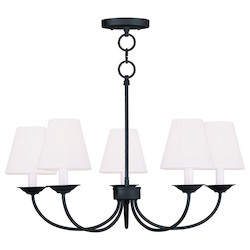 Livex Lighting Black Mendham Up Lighting 1 Tier Chandelier With 5 Lights