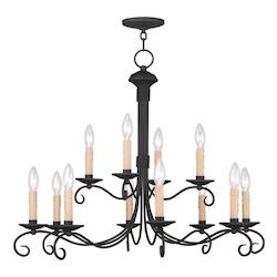 Livex Lighting Black Heritage 12 Light 2 Tier Chandelier