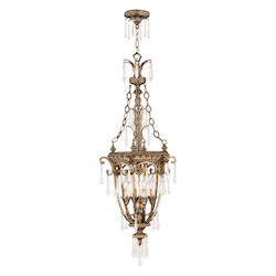 Livex Lighting Vintage Gold Leaf 4 Light 240W Foyer Pendant With Candelabra Bulb Base