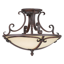 Livex Lighting Imperial Bronze Millburn Manor 4 Light Semi-Flush Ceiling Fixture