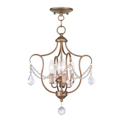 Livex Lighting Four Light Antique Gold Leaf Up Chandelier