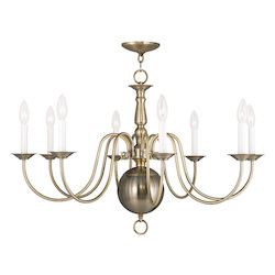 Livex Lighting Antique Brass Williamsburg 8 Light 1 Tier Chandelier