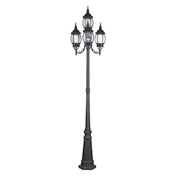 Livex Lighting Black Frontenac 4 Light Outdoor Post Light With Post Included
