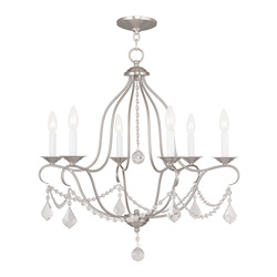 Livex Lighting Six Light Brushed Nickel Up Chandelier