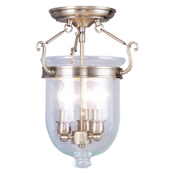 Livex Lighting Antique Brass Jefferson 3 Light Semi-Flush Ceiling Fixture