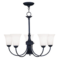 Livex Lighting Black Ridgedale 21 Inch Tall Up Lighting 1 Tier Chandelier With 5 Lights