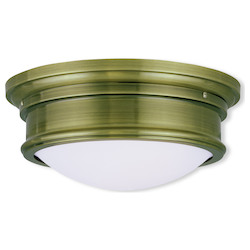 Livex Lighting Antique Brass 5.5 Inch Tall Flush Mount Ceiling Fixture With 2 Lights