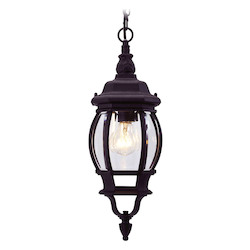 Livex Lighting Black 1 Light 100W Outdoor Pendant With Medium Bulb Base And Clear Beveled Glass