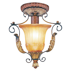 Livex Lighting Verona Bronze With Aged Gold Leaf Accents Foyer Hall Semi-Flush Mount