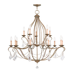 Livex Lighting Antique Gold Leaf Chesterfield 15 Light 2 Tier Chandelier