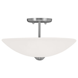 Livex Lighting Brushed Nickel Somerset Semi-Flush Ceiling Fixture With 2 Lights