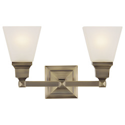 Livex Lighting Antique Brass Mission 2 Light Bathroom Vanity Light