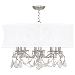 Livex Lighting Brushed Nickel 8 Light 480 Watt Chandelier With Off White Silk Shimmer Shade