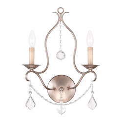 Livex Lighting Two Light Antique Silver Leaf Wall Light