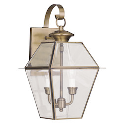 Livex Lighting Antique Brass Westover 2 Light Outdoor Wall Sconce