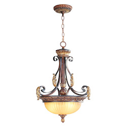 Livex Lighting Verona Bronze 3 Light 180W Pendant With Medium Bulb Base And Rustic Art Glass