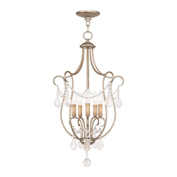 Livex Lighting Five Light Antique Silver Leaf Open Frame Foyer Hall Fixture