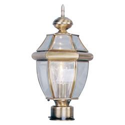 Livex Lighting Antique Brass 1 Light Outdoor Clear Beveled Glass Post Lantern