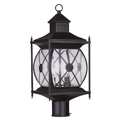 Livex Lighting Bronze 2 Light 120W Post Light With Candelabra Bulb Base And Clear Beveled Glass