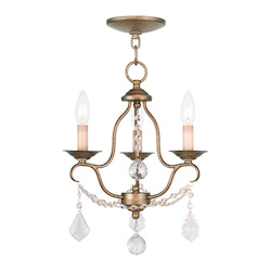 Livex Lighting Three Light Antique Gold Leaf Up Mini Chandelier