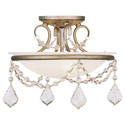 Livex Lighting Antique Silver Leaf Bowl Semi-Flush Mount