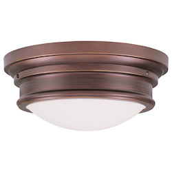 Livex Lighting Vintage Bronze Drum Shade Flush Mount