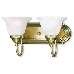 Livex Lighting Antique Brass Belmont 2 Light Bathroom Vanity Light