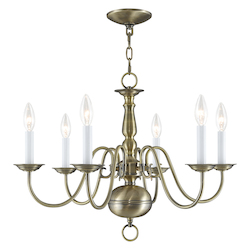 Livex Lighting Antique Brass Williamsburg Up Lighting 1 Tier Chandelier With 6 Lights