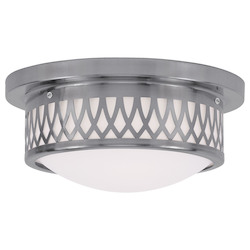 Livex Lighting Brushed Nickel Westfield Flush Mount Ceiling Fixture With 2 Lights