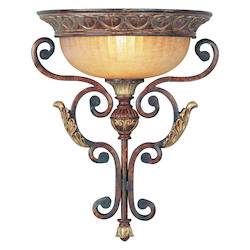 Livex Lighting Verona Bronze With Aged Gold Leaf Accents Wall Light