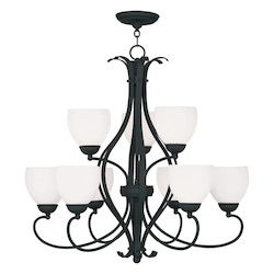 Livex Lighting Black Brookside Satin White Glass Up Lighting 2 Tier Chandelier With 9 Lights